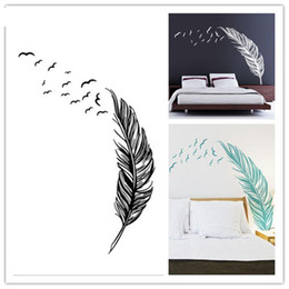 Wholesale Wall Decor Stickers Birds - Birds Flying Feather Removable Wall Sticker Vinyl Home Decal Mural Art Decor DIY