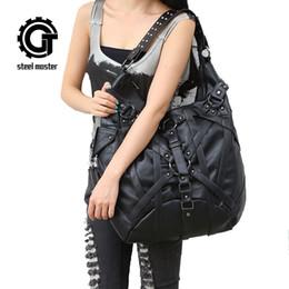 Grandi borse di roccia online-Steampunk Big Handbag Vintage Gothic Rock Borse a tracolla in pelle con tracolla 2017 Nuove borse moda Halloween