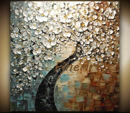 Arbre blanc toile art mural en Ligne-Peint à la main abstrait art moderne peintures White Cherry Blossom Tree peinture à l'huile acrylique peinture murale toile art décoratif mur photos
