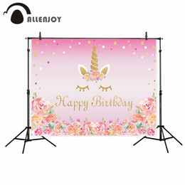 Wholesale canvas beautiful flower paint - Allenjoy new photographic background Beautiful girl flower pink birthday unicorn backdrop photocall professional customize