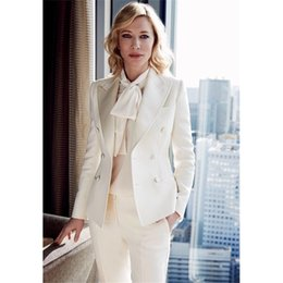 Wholesale Trousers Suits For Women - CUSTOM women business suits formal office suit work ivory ladies elegant pant suits for weddings tuxedo female trouser suit