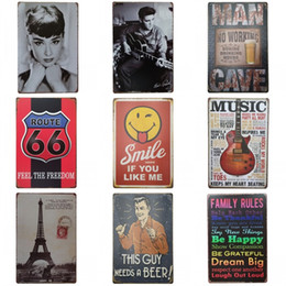 Wholesale cross signed - Retro Eiffel Tower Tins Sign Creative Design Audrey Hepburn Tin Poster Metal Iron Painting Bar Restaurant Decoration Many Styles