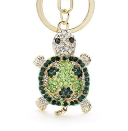 Wholesale Tortoise Rhinestone Keychains - Novelty Crystal Rhinestone Tortoise Keyrings Key Chains Holder For Car Purse Bag Pendant Buckle Fashion Keychains