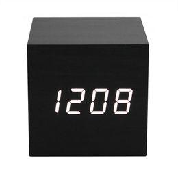 Wholesale wooden digital clock - Display Thermometer Wooden Alarm Clock Square Wooden Clock Mini LED Digital Desktop Puzzle Alarm Clock Electronic Desk Clocks