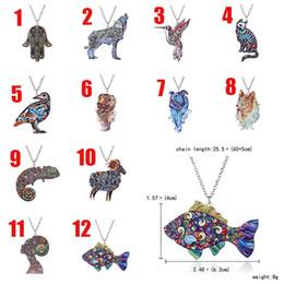Wholesale Hand Link - 2018 Acrylic Bridal wedding necklace animal pendant wolf bird cat dog sheep fish hand shape pendant necklace Christmas Jewelry 162610