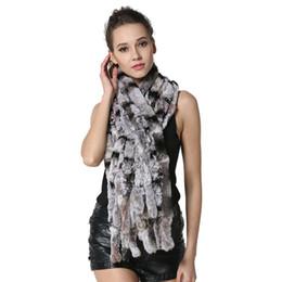Wholesale Rex Rabbit Fur Wrap - Fashion Women Scarf Classic 8 Vertical Bars Wrap Scarf Long Scarves 145cm*27cm Ladies Winter Real Rex Rabbit Fur Scarves LX00856
