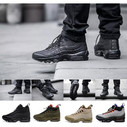 Wholesale Demin Top - Authentic 95 Cushion Mens Boots Hight Top Sneakers Waterproof Leather Air Men's Shoes Ankle Boots Free Shipping