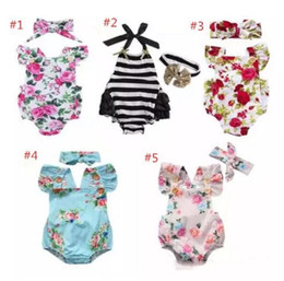 Wholesale Toddler Girls Christmas Outfits - Newborn baby girl clothes summer flower romper jumpsuit onesies +headband 2pcs kid clothing boutique outfits babies girls toddler 0-24M A08
