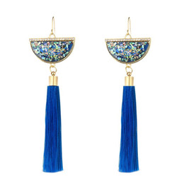 gold fringes Promo Codes - Popular Chinese Style Tassel Earrings Multicolored Shell Fan Shaped Fringe Ear Drop 6 Colors Good Quality Design Women Jewelry Melody2041