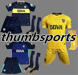 Wholesale Sports Jersey Kits - 17 18 Boca Juniors soccer uniforms men's short sleeve thai quality soccer jerseys+Socks Boca blue football wear soccer kit sport sets