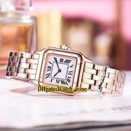 Billige uhrenarmbänder online-Neue 27mm Panthere de WGPN0007 Weißes Zifferblatt Schweizer Quarz Damenuhr Roségold Caes Armband 13 Stil Günstige New Fashion Lady Watches