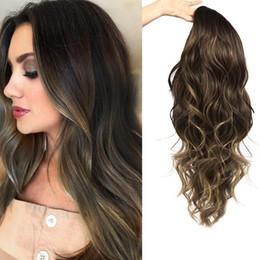 2019 teléfono de la oficina de la vendimia REAMIC Peluca femenina y americana Moda femenina Fibra química Cabello largo y rizado en el nuevo Hood Party Wigs Gradient Pelucas