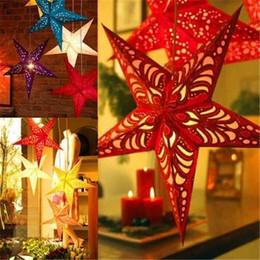 Weihnachten papier sterne online-Weihnachtsdekoration Decke Stereoscopic Laser Pentacle Paper Star Ornament
