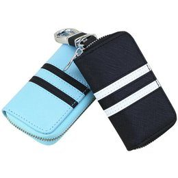 Wholesale Auto Key Covers - car key case for Fashion British Style Colorful Stripes Genuine Leather Key Wallet Auto Cover Holder Key Bag LJJE29
