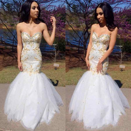 Wholesale Work 16 - Luxury Sweetheart Mermaid Gold Crystal Beading Prom Dresses Hot Satin And Tulle Hand Working Beads Sewing Evening Gown Party Dresses