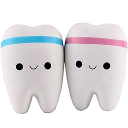 Wholesale Pendant Tooth - 10CM Teeth PU Cute Lovely Cartoon Pendant Kawaii Squishy Simulation Bread Food Squishy Super Kid Toy Decompression Toys
