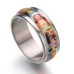 Wholesale Wholesale Catholic Jewelry - Religious Jewelry Holy Jesus Christ Enamel Stainless Steel Ring Unisex Finger Ring Christian Catholic Christmas Gifts