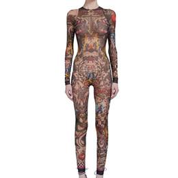Discount women tattoos - Summer Women Skull Tribal Tattoo Print Mesh Jumpsuit Curvy African Runway Sheer Bodysuit Celebrity Catsuit Tracksuit Jumpsuit