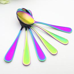 Conjuntos de pratos de natal on-line-Eco-Friendly Chapeamento Rainbow Color Colher De Café De Aço Inoxidável Sorvete Sobremesa Colher De Chá De Mesa Snack Presente de Natal 6 Peças / set