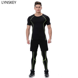Wholesale Tight Shirts Sport For Men - LYNSKEY 3 Pieces Mens Sports Suits Running Clothes For Men Short Compression Tights Gym Fitness Shirt With Legging And Shorts
