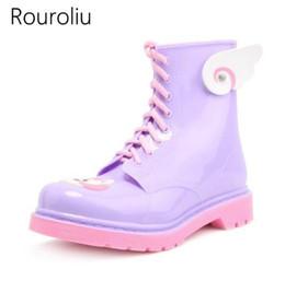 Wholesale Ankle Wellies - Rouroliu PVC Lace-up Ankle Rain Boots Women Cartoon Candy Colors Flat Heels Rainboots Water Shoes Woman Wellies ZJ68