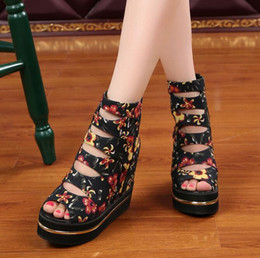 Wholesale Women Denim Wedges - New style Woman high-heeled wedge heel sandals Sequined Flowers platform shoes Zip Mixed Color hight top shoes fish mouth shoes