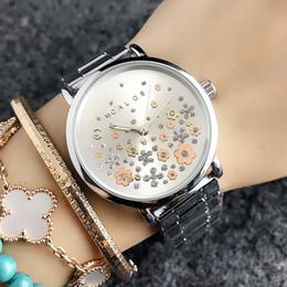 2019 металлические группы Мода цветок стиль Марка женская девушка металл стальной браслет Кварцевые наручные часы M51 скидка металлические группы