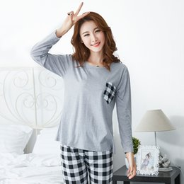 c9c0278cc4 Cotton Pajama Set for Women 2018 Autumn Long Sleeve Pyjama Casual Plaid pants  Sleepwear Female Homewear Loungewear Home Clothing