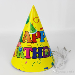 b7fcb2a398182 Al por mayor-12pcs Decoración de la fiesta de cumpleaños Niño lindo Fiesta  amarilla Patrón de dibujos animados Cumpleaños Papel Sombrero Evento Fiesta  para ...