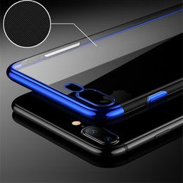 Wholesale Iphone Border Cases - For iPhone X Case With Colorful 360 All-round Protection Soft TPU Cover Case for iPhone X-clear with color border