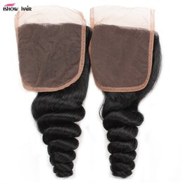 Wholesale Curl Human Hair Brown - Brazilian Peruvian Malaysian Indian Loose Wave Closure 100% Good Virgin Human Hair 4*4 Loose Curl Middle Brown Color Fashion Lace Closure