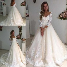3e276aa79c bride cover up Coupons - Newest V-neck Long Sleeves Wedding Dresses Sexy  Back With