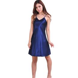 Schlankes nachthemd online-Marineblau Damen Sommer Satin Spaghetti Strap Nachthemd Elegante Rüschen Slim Nachthemd Sexy Nachtwäsche S M L XL XXL XXXL NR002