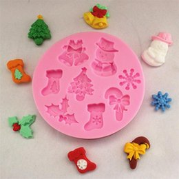 Wholesale Snowflakes Cake Mold Silicone - Wholesale- 2016 New Christmas Tree socks snowman snowflake Fondant Cake Model Silicone Soap Chocolate Mold cookies Baking Pastry tools