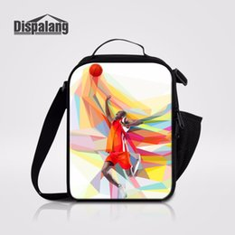 Wholesale Red Lunch - Dispalang Basketballs Player Prints Thermal Insulated Cooler Bag Portable Meal Bag For Adult Kids Lunch Box Shoulder Lunch