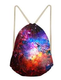 Organizador de saco de poliéster on-line-Saco de Armazenamento De mochila com cordão tecidos de Poliéster 3D Sky Travel Drawstring Tote Saco De Armazenamento Saco Organizador Escola Sacos De Armazenamento De Pacote de Esporte