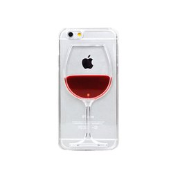 Wholesale hourglass liquid - For iPhone 7 8 Case, Bling Glitter Sparkle Flowing Floating Liquid Infused Case Cover for iPhone - Liquid hourglass cocktail  Red wine glass