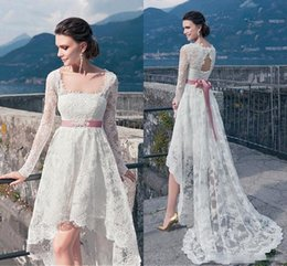Wholesale Low Back Style Wedding Dresses - Bohemian 2018 High Low Style Long Sleeve Wedding Dresses Full Lace Beach Wedding Dress Cheap Back Lace-up Boho Bridal Gowns With Sash