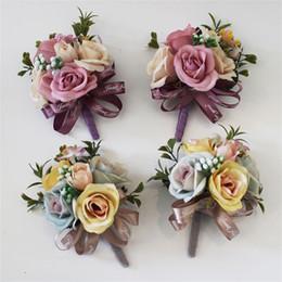 Corsages de seda on-line-Simulação Flor Artificial Broche Pin Rose Lace Seda Moda Noivo Groomsman Corsage Flores Roupas de Casamento Decoração 6 8 UU U