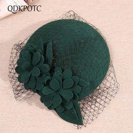 green fedoras Скидка Qdkpotc элегантный женский Федора шерсть войлочная сетка цветочные формальные береты для женщин свадебный банкет шляпы Fedora