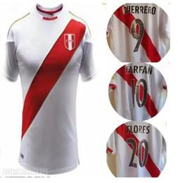 Wholesale Uniforms Dhl - 2018 World Cup Peru soccer Jersey 2018 2019 Peru home white kit uniforms soccer football shirt DHL free shipping