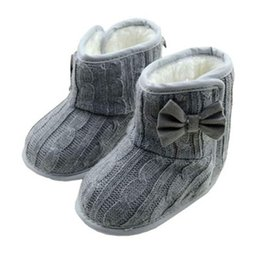 Wholesale Knitted Calf Boots - 2018 New Cute Baby Boots Girl Knit Bowknot Faux Fleece Snow Boot Soft Sole Kids Warm Wool Baby Shoes Comfortable for Kids Gift