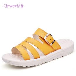Wholesale Oxford Sandals Shoes - 2018 Women Summer Platform Clogs Slippers Clogs Shales Slides Female Soft Genuine Leather Shoes Lady Oxford Beach Sandals