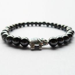 Wholesale 14k gold elephant - Best selling 6MM magnetic Hematite stone elephant beads bracelets women man Period Fitness Sleep Mood Tracker health bracelet