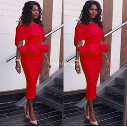 2019 vestidos de tapete vermelho de comprimento de chá Vestidos de noite formal elegante 2018 Off vestidos de ombro Ruffles Tea Duração ocasião especial Prom partido Tapete Vermelho Vestido Vestidos De Fiesta vestidos de tapete vermelho de comprimento de chá barato