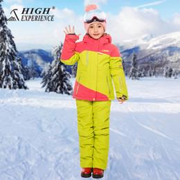 2019 crianças vestindo roupas quentes Esporte ao ar livre Desgaste Esqui Snowboard Meninos Super Quente Roupas Terno Crianças Crianças Jaqueta de Esqui + Calças À Prova de Vento À Prova D 'Água crianças vestindo roupas quentes barato