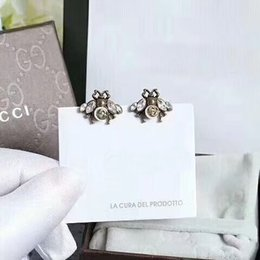 Wholesale Diamond Studs - 2018 Top brass material Brand name bee stud earring with diamond and S925 pure silver earring pin for women christmas gift jewelry PS6674