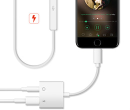 Wholesale Iphone 8x - FOR Iphone7 8X dual Lightning base audio transfer line support iOS11 system. 4 in 1 function telephone + charge + listen song + line contro