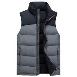 Wholesale men down vest orange - #8908 Winter Jacket Sleeveless Men 90%White duck Down Vest Patchwork Jacket Men's Autumn Thick Warm Coat Outwear Tops Overcoat Fashion M-4XL