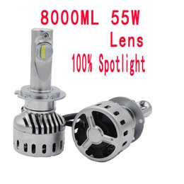 Wholesale Led H11 55w - LENS Car LED Headlights 55W 8000LM ZES Spotlight H4-3 hi lo High low H7 H1 H3 H11 H8 HB3 9005 HB4 9006 headlights